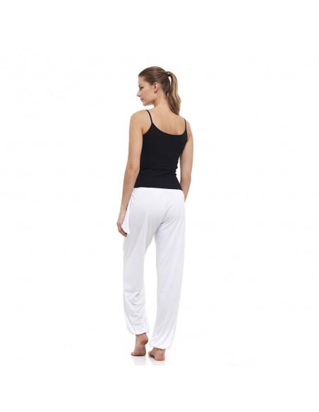 Completo: canotta yoga young (nero) + pantaloni indiani (bianco)