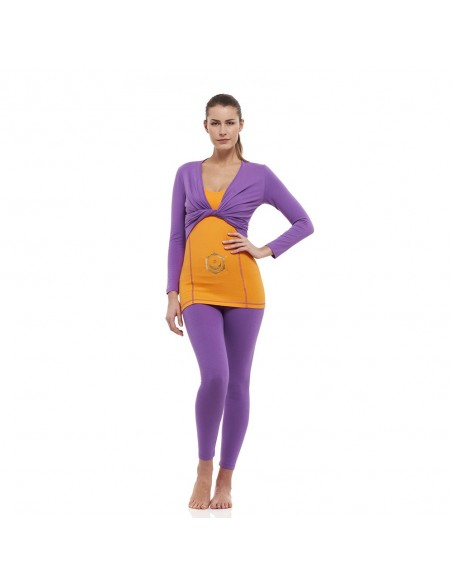 Outfit: sahasrara wrap top + svadishtana yoga top + high waist sahasrara yoga leggings (violet)